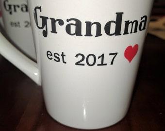Grandma Coffee Cup, Birth Announcement, Baby Announcement, Grandma Gift