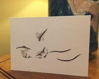 Greeting Card Fine Art Cat Card - Sleeping Cat