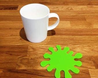 Splash Shaped Lime Green Gloss Finish Acrylic Coasters