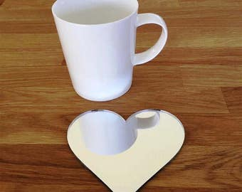 Heart Shaped Silver Mirror Gloss Finish Acrylic Coasters