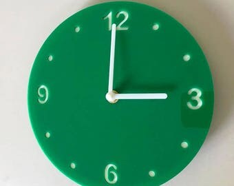 "Round Green & White Clock - White Acrylic Back, Green Gloss Finish Acrylic with White hands, Silent Sweep Movement.  Sizes 8"" or 12"""