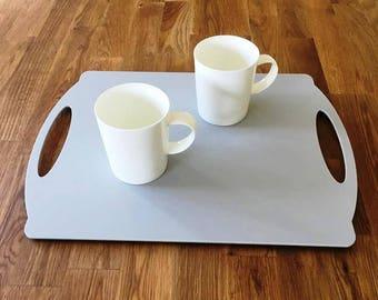 "Rectangle Flat Serving Tray - Light Grey Mat Finish Acrylic, 3mm Thick 30cm x 40cm 12""x16"""