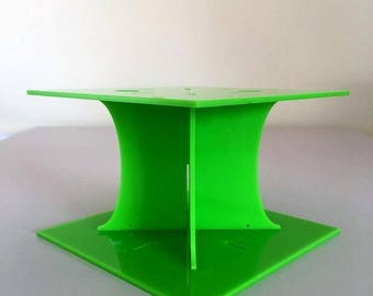 """Plain Square Lime Green Gloss Acrylic Cake Pillars/Cake Separators, for Wedding / Party Cakes 10cm 4"""" High, Size 6"""" 7"""" 8"""" 9"""" 10"""" 11"""" 12"""""""
