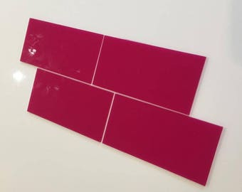 "Pink Gloss Acrylic Rectangle Crafting Mosaic & Wall Tiles, Sizes: 1cm to 25cm -  1"" to 10"""