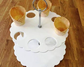"Round White Gloss Acrylic Ice Cream Cone Stands with Silver Metal Round Handle Rod (holes are 3.5cm 1.5"" Diameter) 4, 8 or 12 Hole Options"