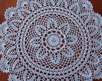 "Large Blue Doily, handmade crochet 18"" round doily"