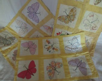 Vintage Butterfly Quilt Sections