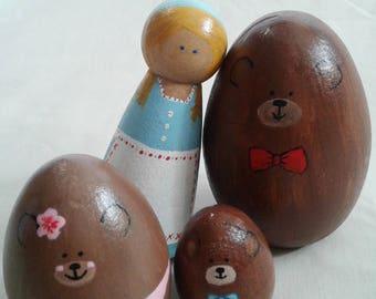 Natural Peg Set Goldilocks and the three bears, fairy tale peg people, Goldilocks peg doll, peg doll, 3 bears peg people, wood peg