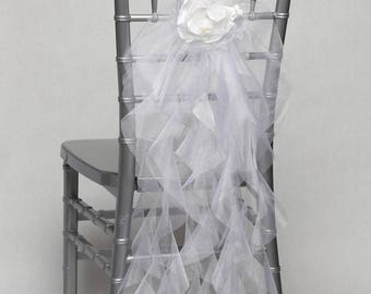 Wedding Party Organza Curly Willow Chair Cover with Organza Flower for Event, Party, Bridal Shower, Wedding Engagement Decor /READY TO SHIP