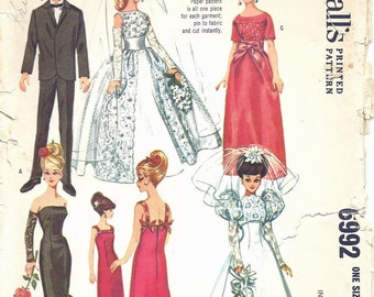 1960s McCall's 6992 Barbie Doll's Instant High Fashion Wardrobe Sewing Pattern CUT