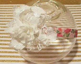 Handmade Shabby Chic Floral Elastic Headband Cute Baby Girl Hair Accessory