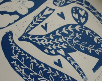 March Hare  Limited Edition Lino Print, inspired by Folk Art