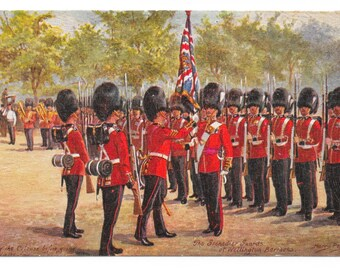 Artist-Signed Grenadier Guards at Wellington Barracks, London, Postcard, c. 1910