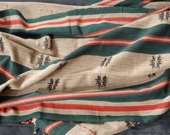 Naga cotton fabric, Naga ethnic boho textile green red beige black striped handwoven blanket bedspread runner heavy cotton naga textile RI19