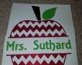 Glitter teacher apple with name