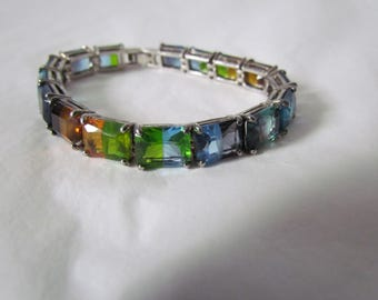 RARE Vintage Signed MONET Rainbow Color block Large Rhinestone Bracelet AMAZING!
