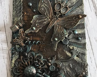 Vintage scissor butterfly and flower Mixed Media Canvas