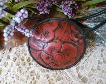 Embossed Leather Look Pendant Necklace Polymer Clay Handmade Edwardian Embossed Leather OOAK Artist Designed and Created