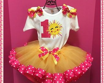 Birthday You Are My Sunshine Ribbon Tutu; Personalized Onezee, Ribbon Tutu And Handcrafted Matching Hair Bow;1st,2nd,3rd,4th,5th Birthday