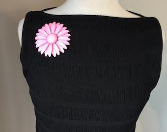 Vintage Pink 60's Metal Floral Broach