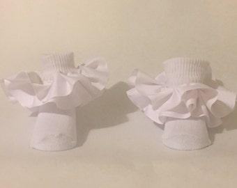 White double ruffle socks, white double ruffle fancy socks, white double ruffle frilly socks