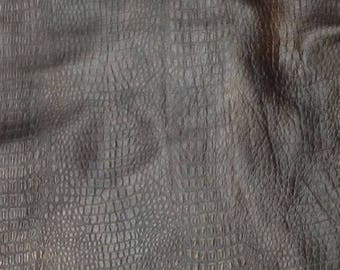 EMB122 Leather Cow Hide Cowhide Craft Fabric Brown Embossed Alligator 25 sq ft FREE SHIPPING