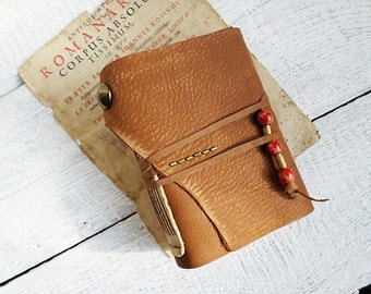 Handbound Diary soft brown leather stained paper Ready to Ship