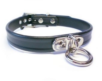 "3/4"" Vegan ""Leather"" BDSM Collar with small Plated Bondage Ring for fetish slave or submissive"