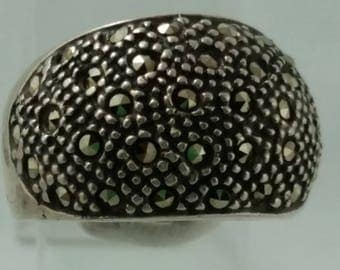 1970s Vintage Sterlig Silver and Marcasite Encrusted Dome Band