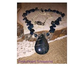 Apatite pendant and gemstone necklace
