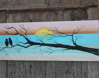Large sign, statement piece, bedroom, Lovebirds with tree. Hand painted, original, wedding gift, valentine's day, rustic farmhouse decor