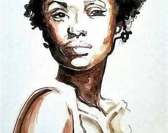 Original Art African American Woman Watercolor Painting Natural Portrait Hand Painted Brown Skin Portrait