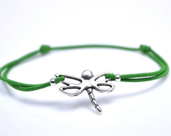 Dragonfly bracelet green cord