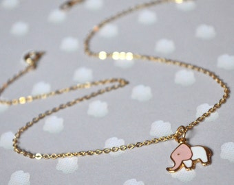 Gold pendant necklace pink elephant