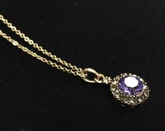 Necklace purple cabochon pendant