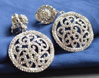 Clips filigree crystal earrings