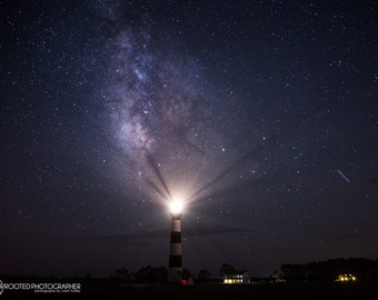 Milky Way and Meteor Over Bodie Island