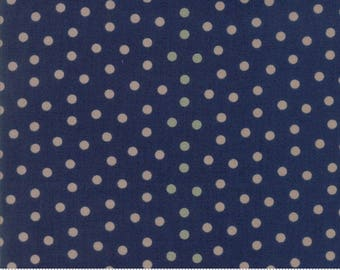 Moda Sweet Blend Blueberry Blue with Tan Dot Laundry Basket Quilts  Edyta Sitar 42295-13 BTY