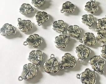 TEN (10) Silver Hibiscus Charms