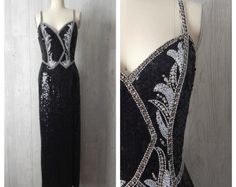 the show must go on | Women's Vintage 80s 90s Black Beaded Sequined Long Evening Gown with High Leg Slit // Size Small 4-6