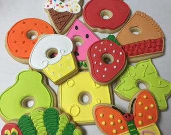 Caterpillar and Food/Fruit cookies, ONE DOZEN