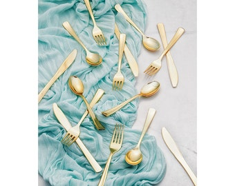 96 Flatware Place Settings ~ Gold Metallic Cutlery ~ 288 Pieces! Wedding  Reception ~ 50th Anniversary ~ Buffets ~ Holidays