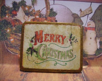 Merry Christmas Miniature Wooden Plaque 1:12 scale for Dollhouses