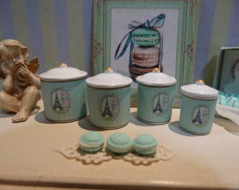 Ladurée Style set of four miniature canister  for Dollhouse 1:12 scale