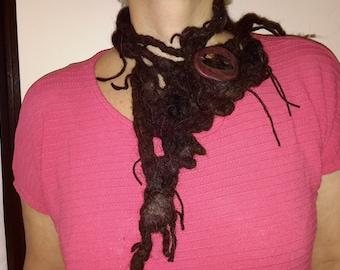 Felted necklace Hippie felted item Handmade Felted Stripe