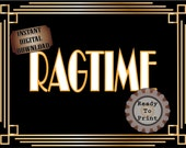 Ragtime Sign Printable Roaring 20s Prohibition Era Art Deco Gatsby Party Gold Black White Wedding Speakeasy Themed Event Illuminate Sign