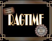 Ragtime Sign Printable Roaring 20s Prohibition Era Art Deco Gatsby Party Gold Black White Wedding Speakeasy Themed Event Illuminate Sign