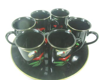 Serving trays and cups, Hummingbird trays and six cups, vintage tray set, black lacquer, mid century tray, bar ware
