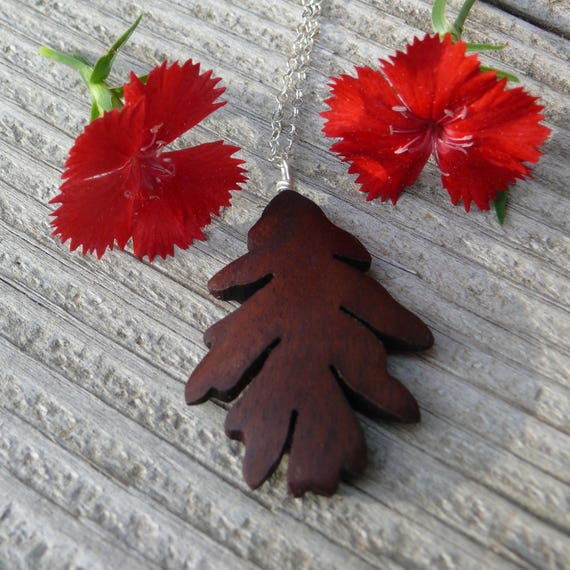 Oak Leaf Necklace Pendant, Silver Oak leaf Necklace, Oak leaf jewelry, Wooden Boho necklace, Gift for her under 20, Nature lover gift