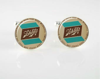 Vintage Schlitz Beer Cuff Links or Tie Clip